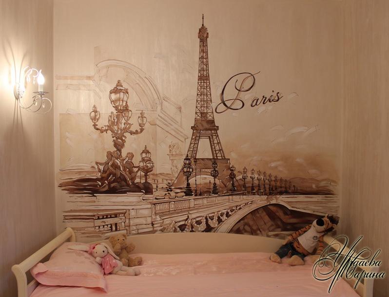 Париж - Роспись стены на кухне, графика роспись стен